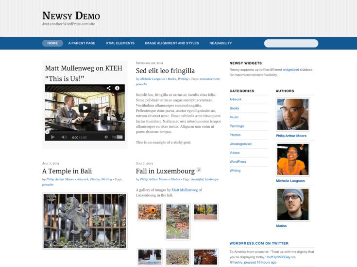 Screenshot of the Newsy theme