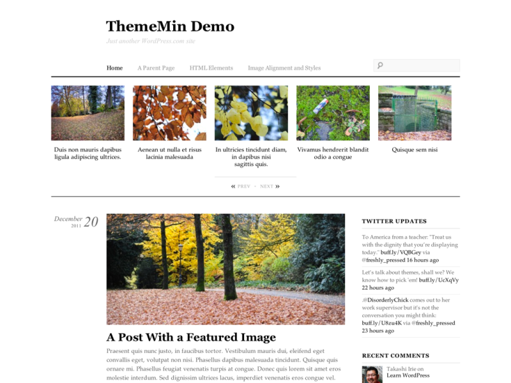 Screenshot of the ThemeMin theme