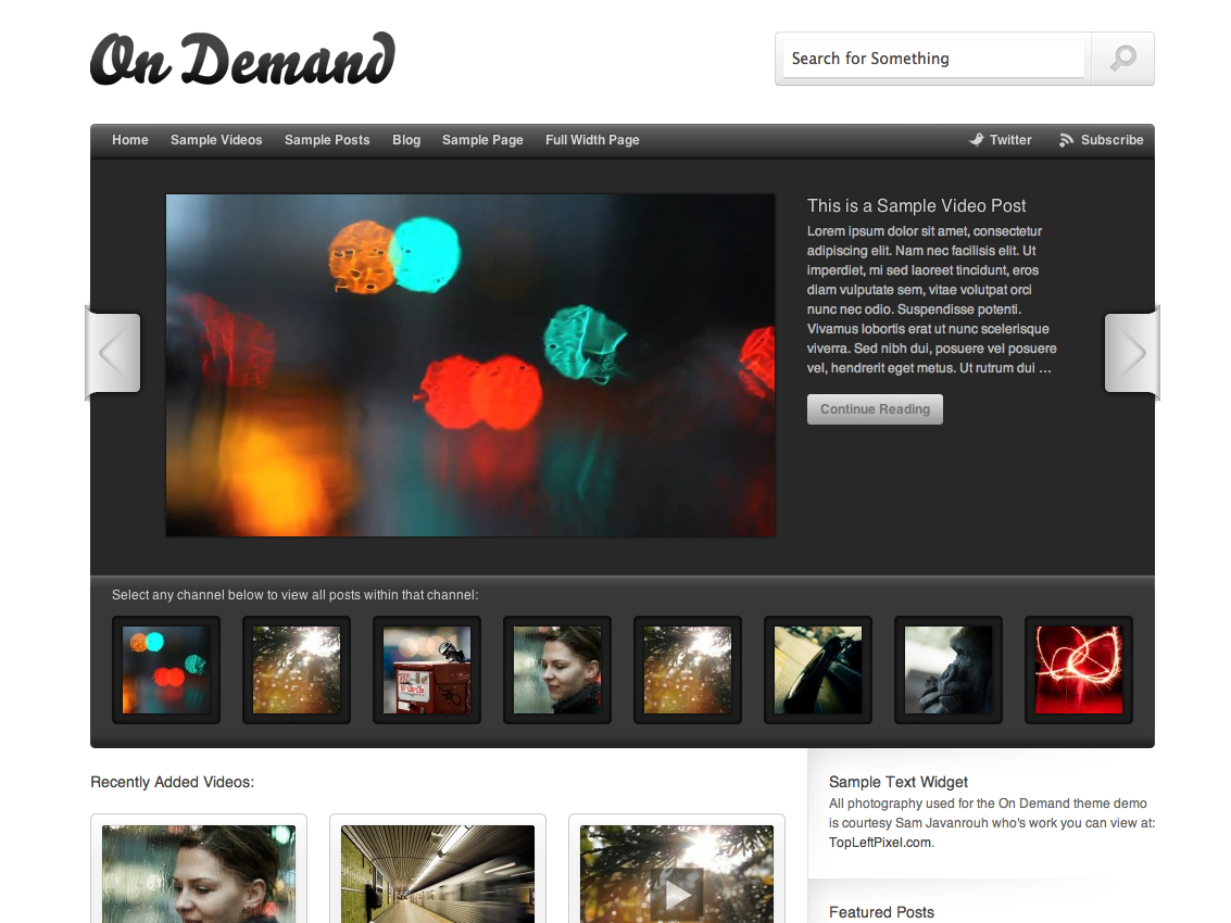 Screenshot of the On Demand theme