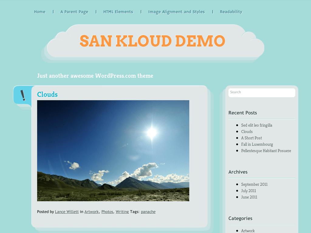 Screenshot of the San Kloud theme
