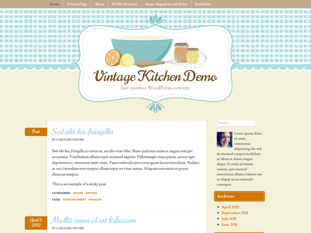Screenshot of the Vintage Kitchen theme