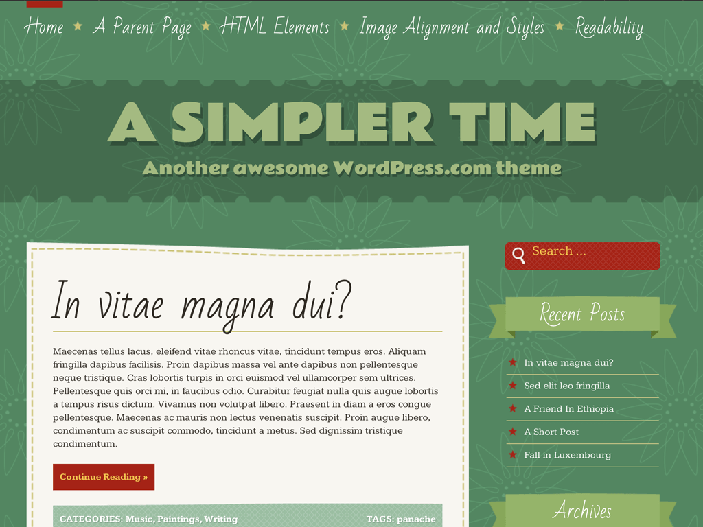 A Simpler Time WordPress Theme