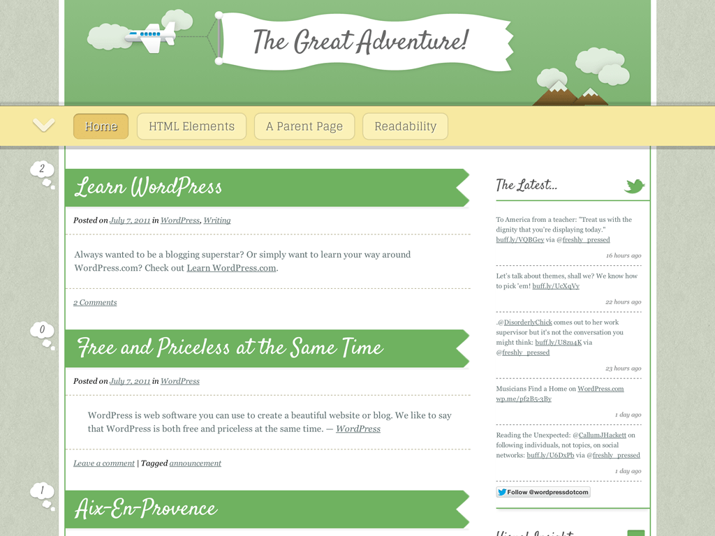 Screenshot of the The Great Adventure theme