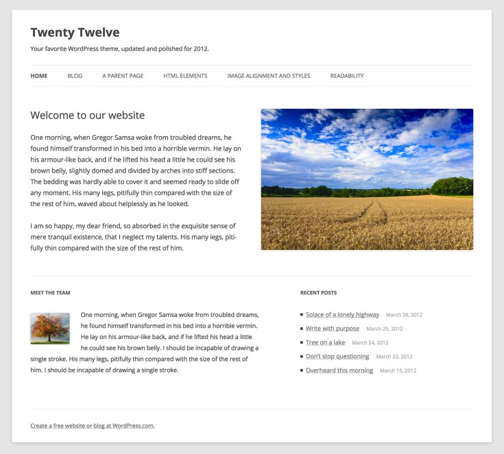 Screenshot of the Twenty Twelve theme