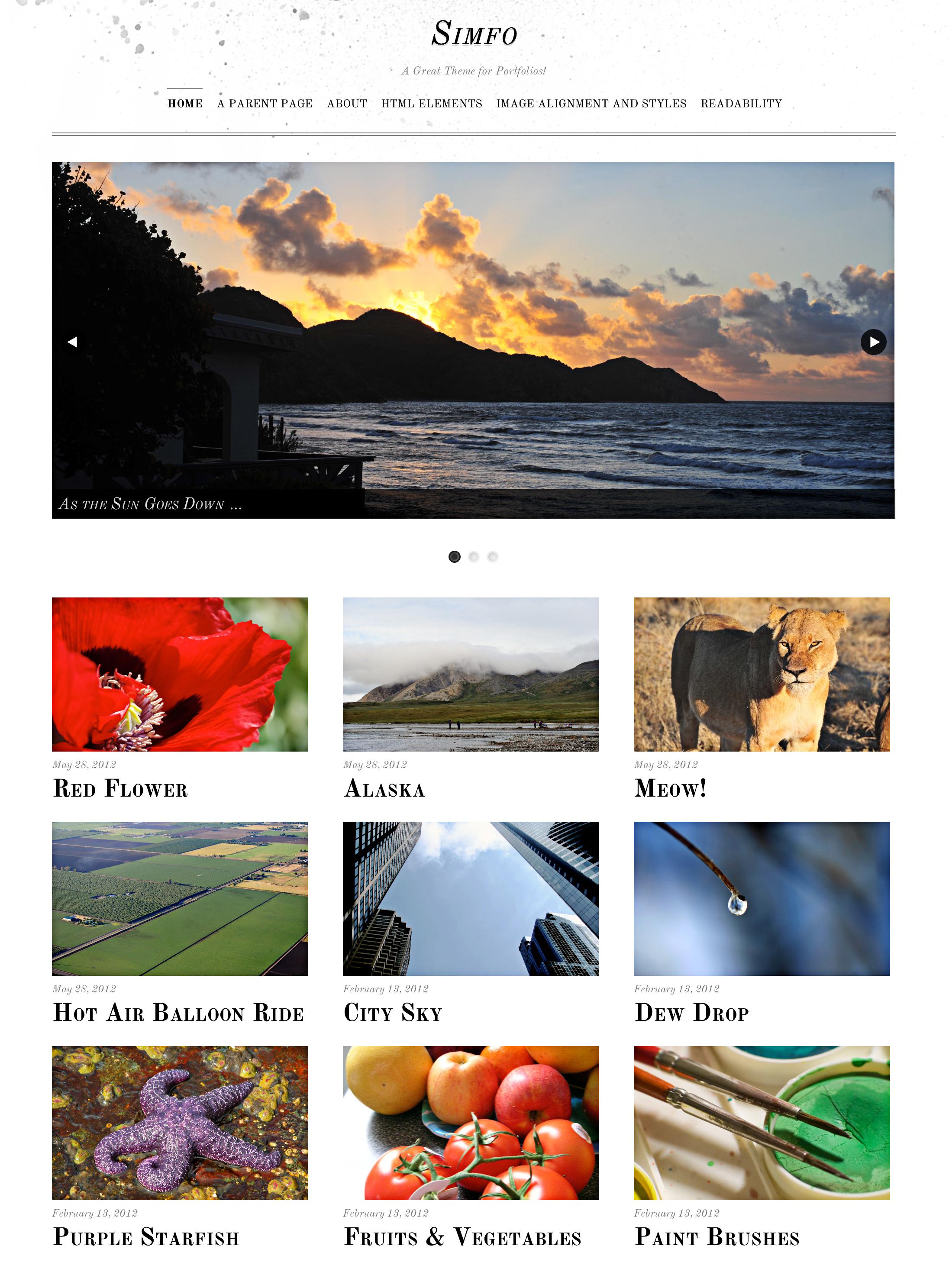Screenshot of the Simfo theme