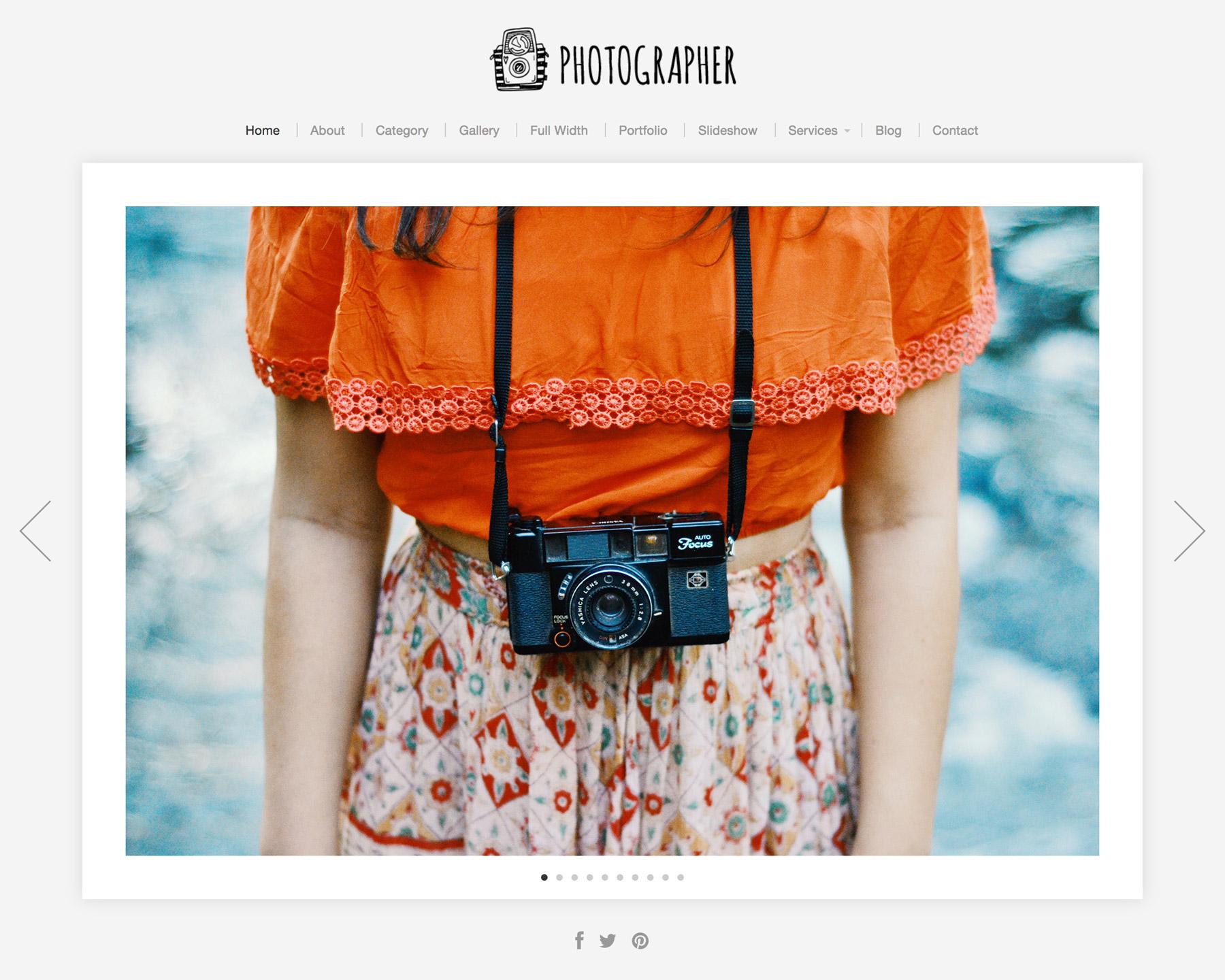 Screenshot of the Photographer theme