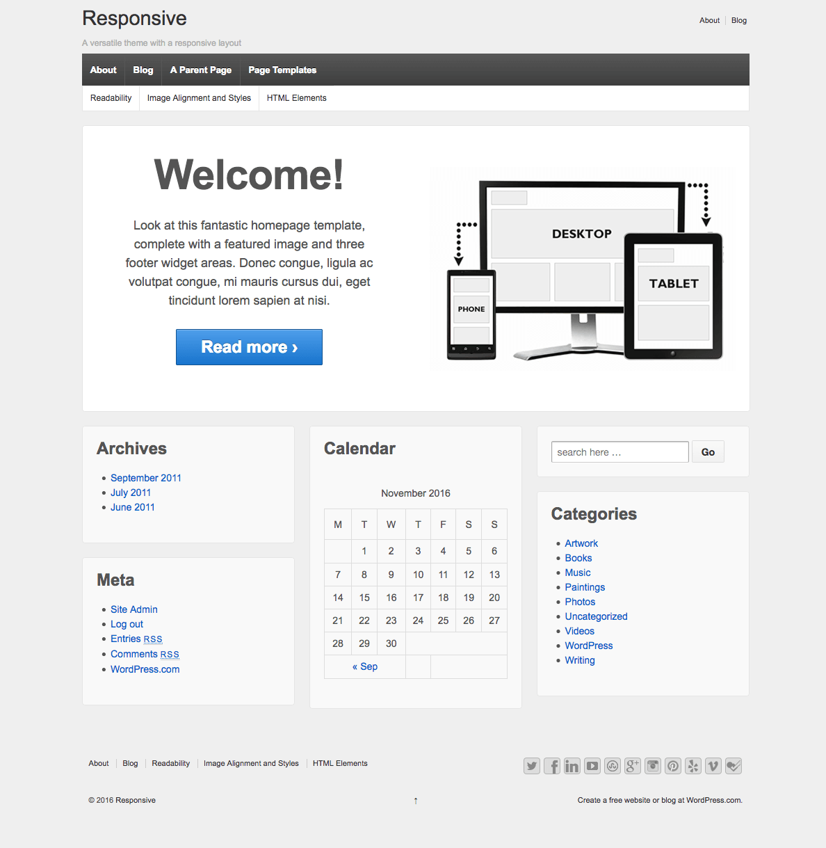 Screenshot of the Responsive theme