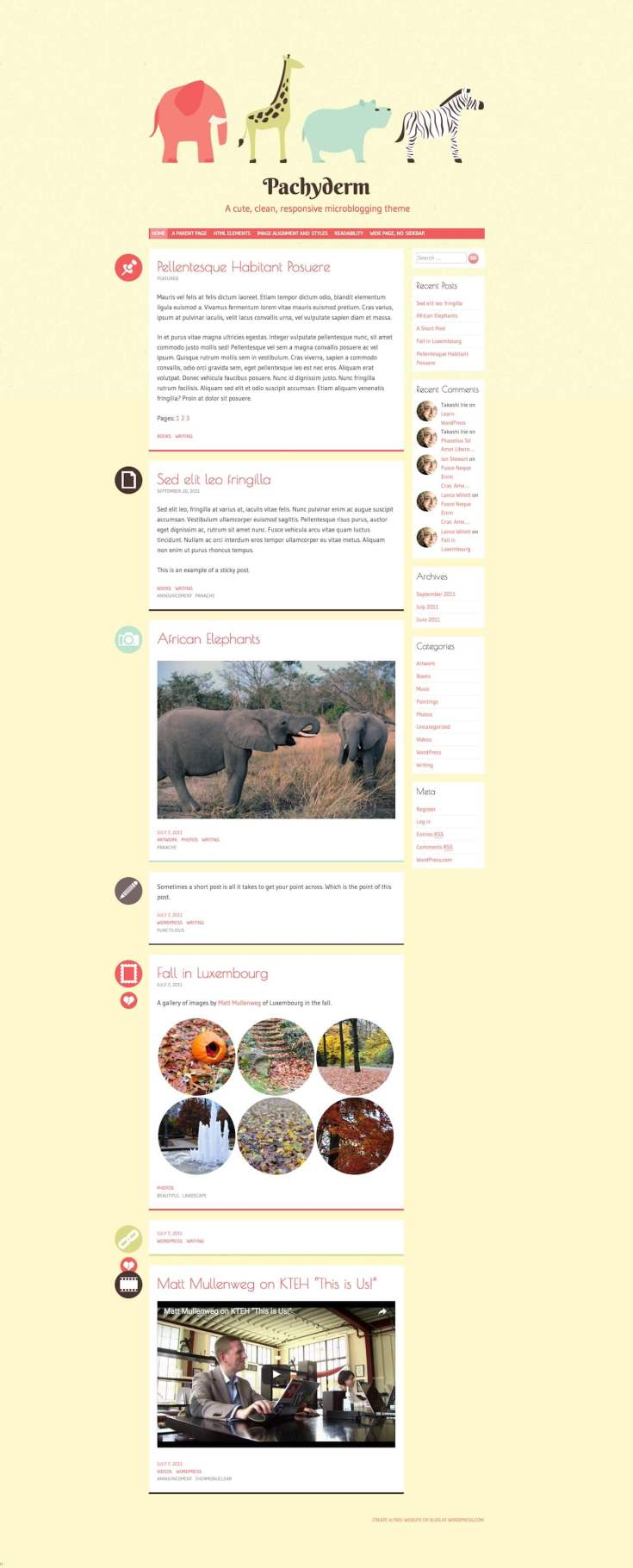 Screenshot of the Pachyderm theme