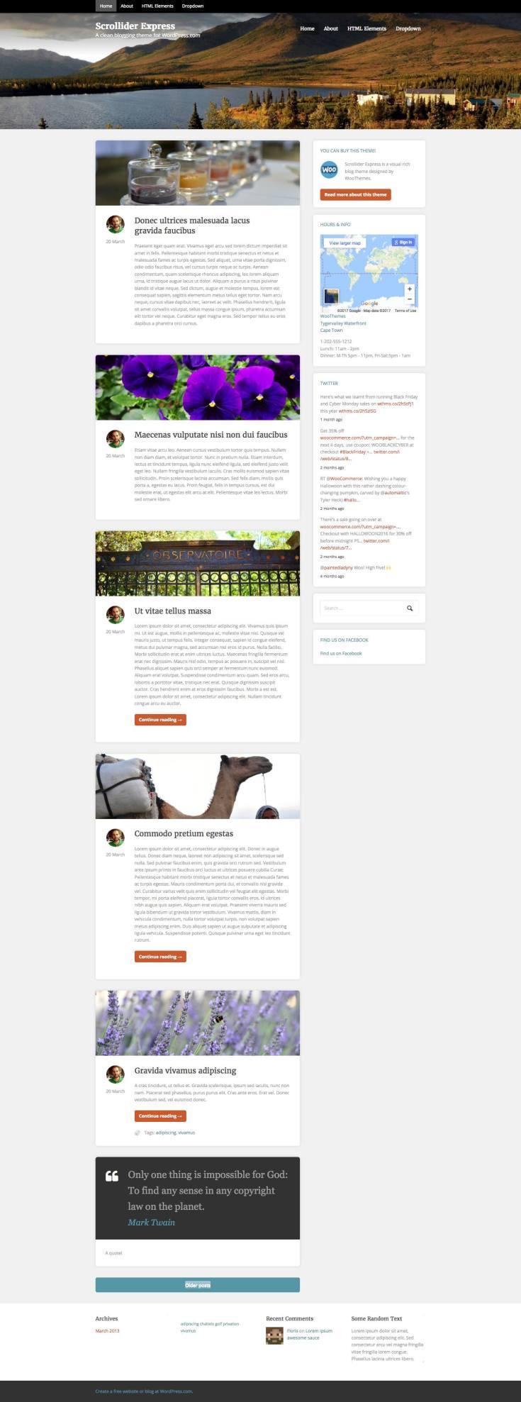 Screenshot of the Scrollider Express theme