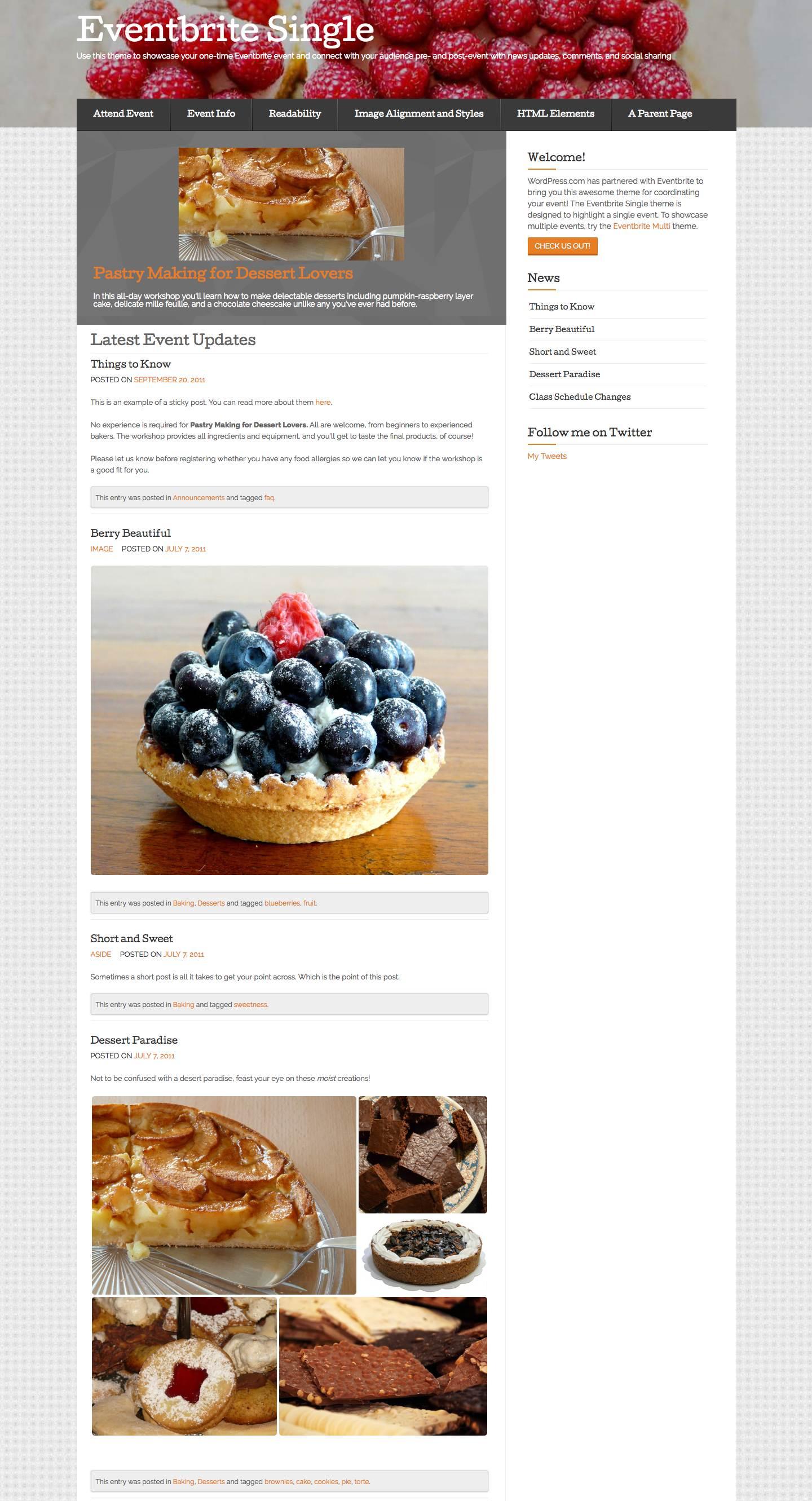 Eventbrite Single Event WordPress Theme