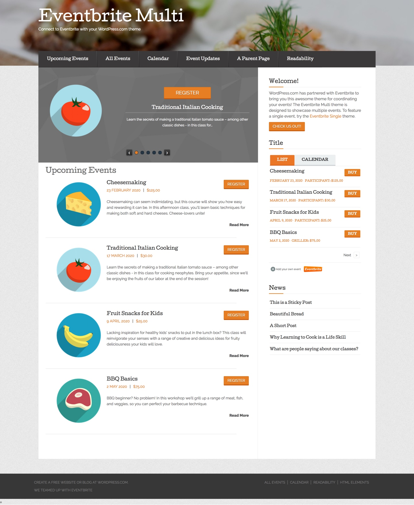 Eventbrite Multi Event WordPress Theme