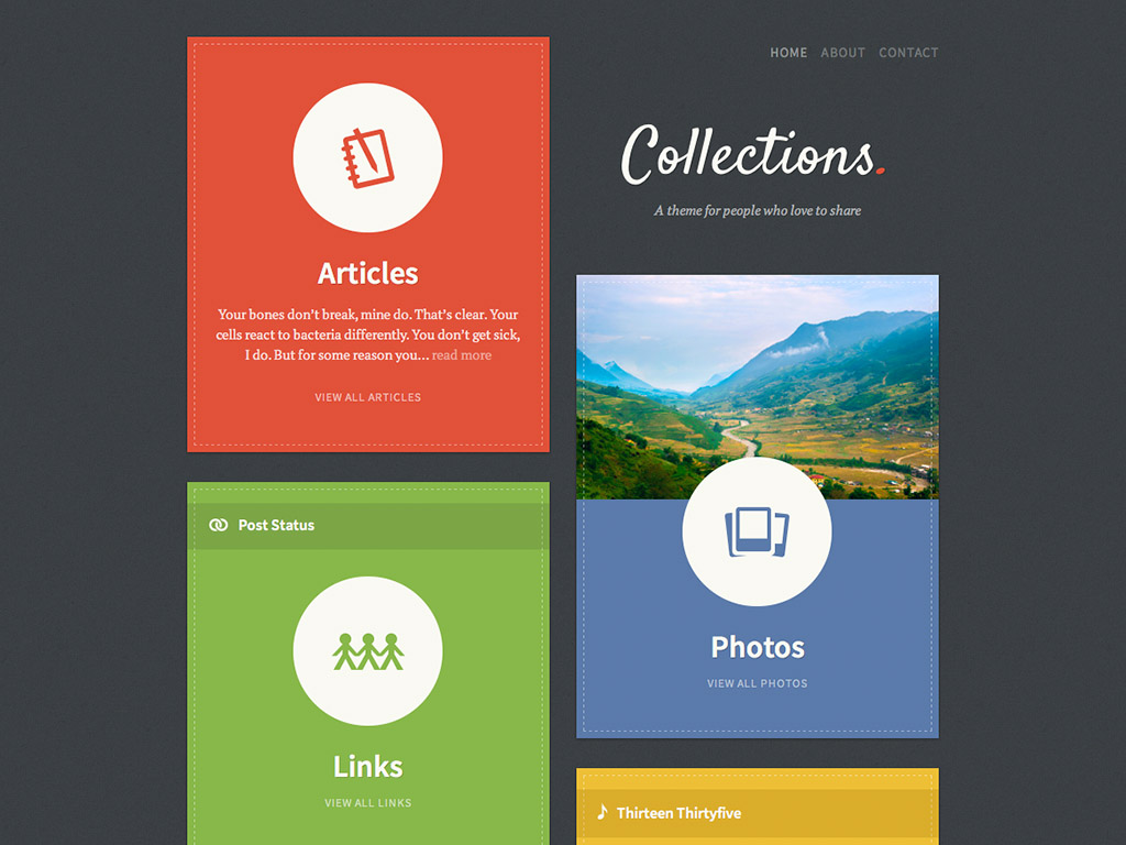 Screenshot of the Collections theme