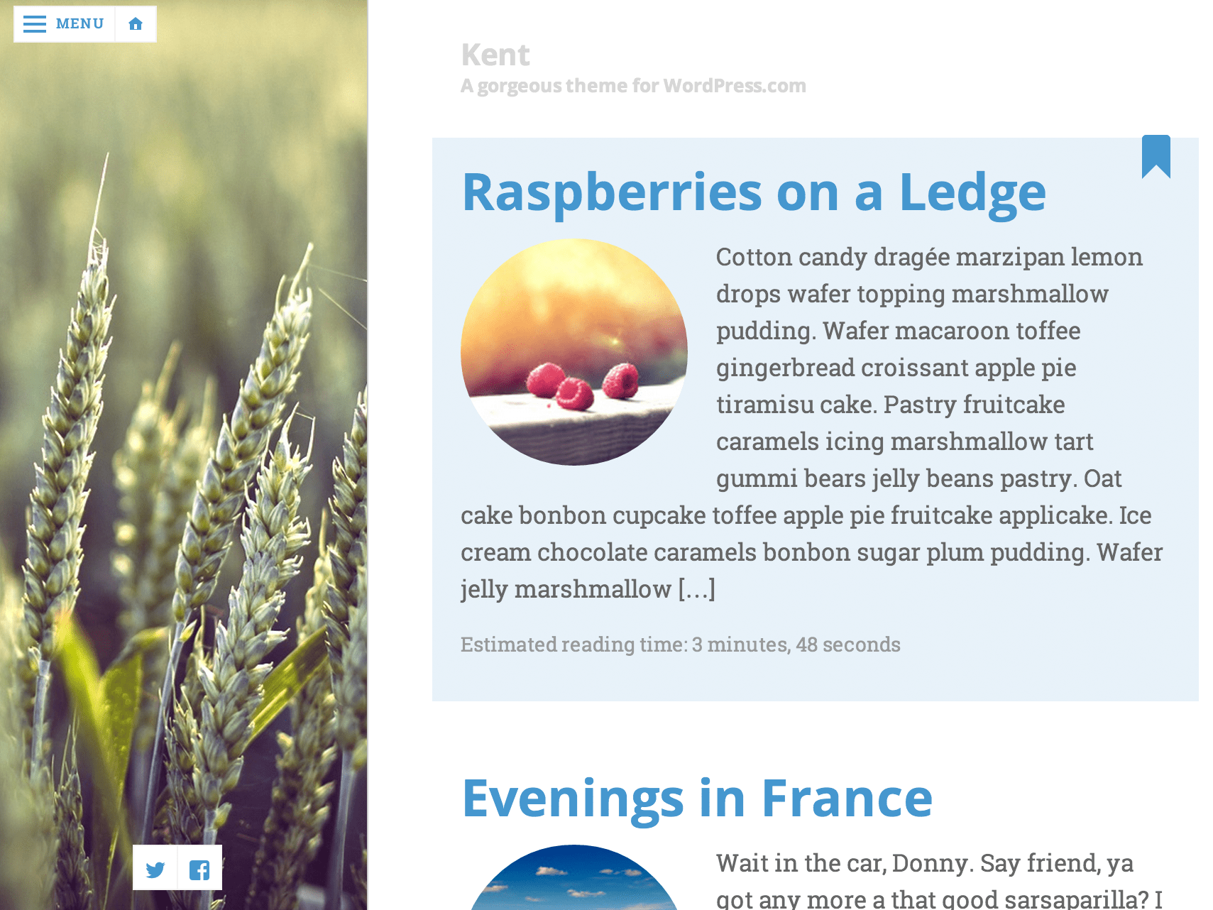 Screenshot of the Kent theme