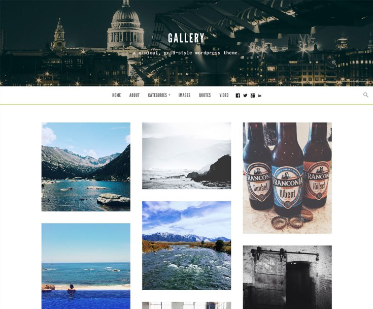 Screenshot of the Gallery theme