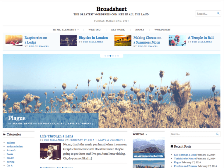 Screenshot of the Broadsheet theme