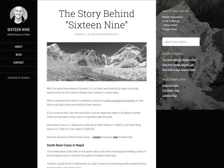 Screenshot of the Sixteen Nine theme