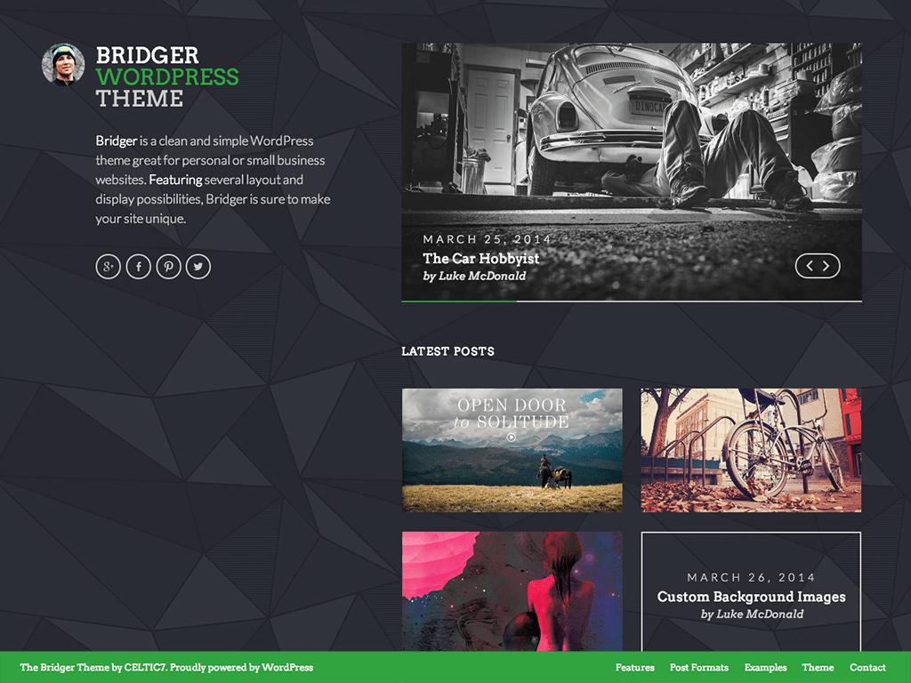 Screenshot of the Bridger theme
