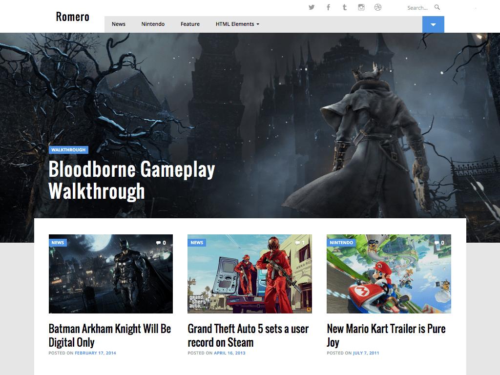 Screenshot of the Romero theme
