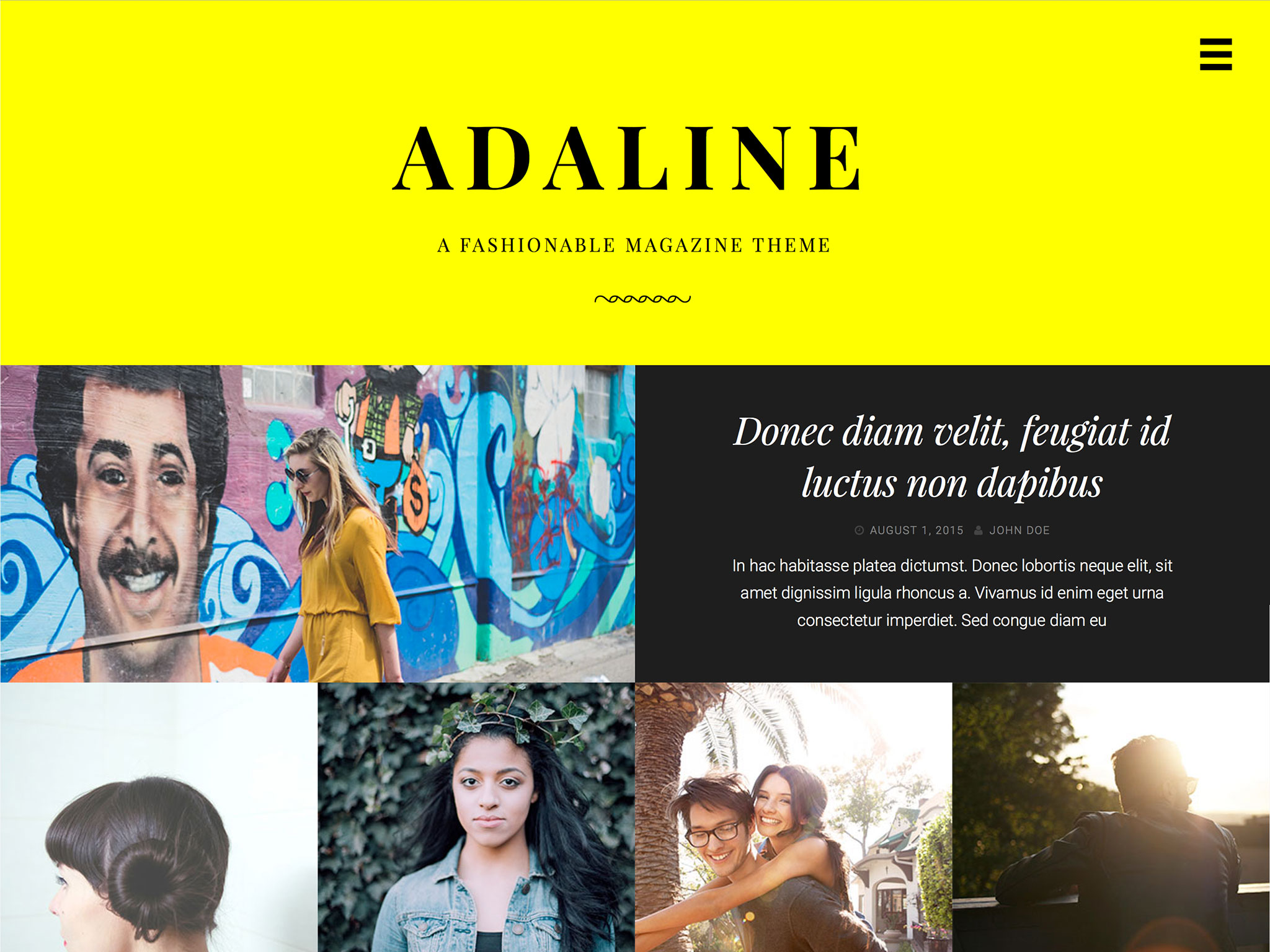 Screenshot of the Adaline theme