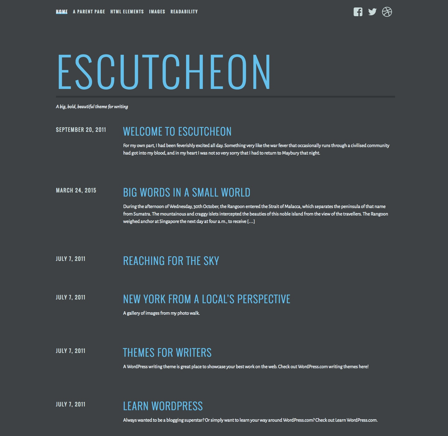 Screenshot of the Escutcheon theme
