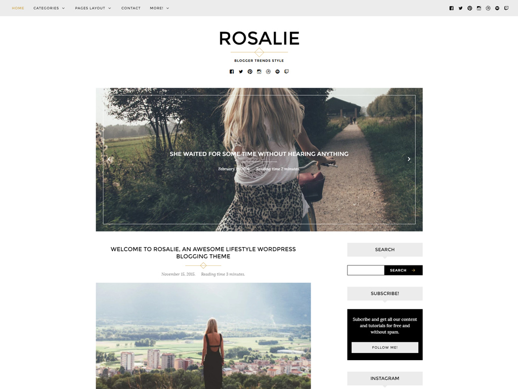 Screenshot of the Rosalie theme