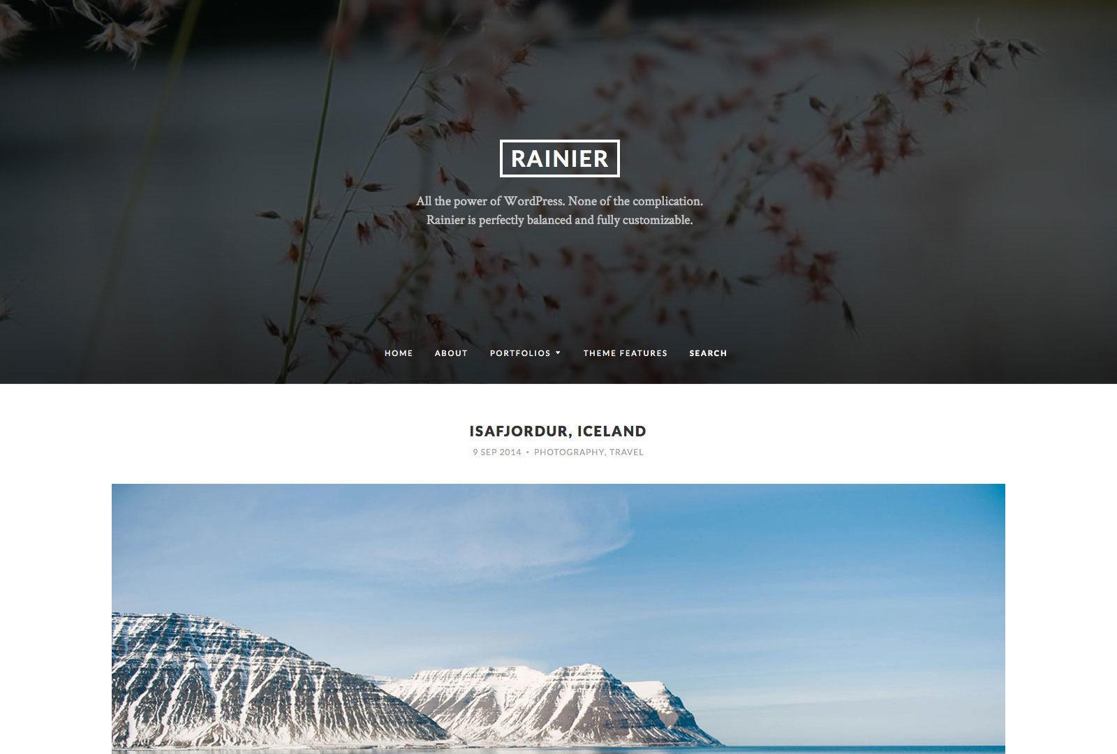 Screenshot of the Rainier theme
