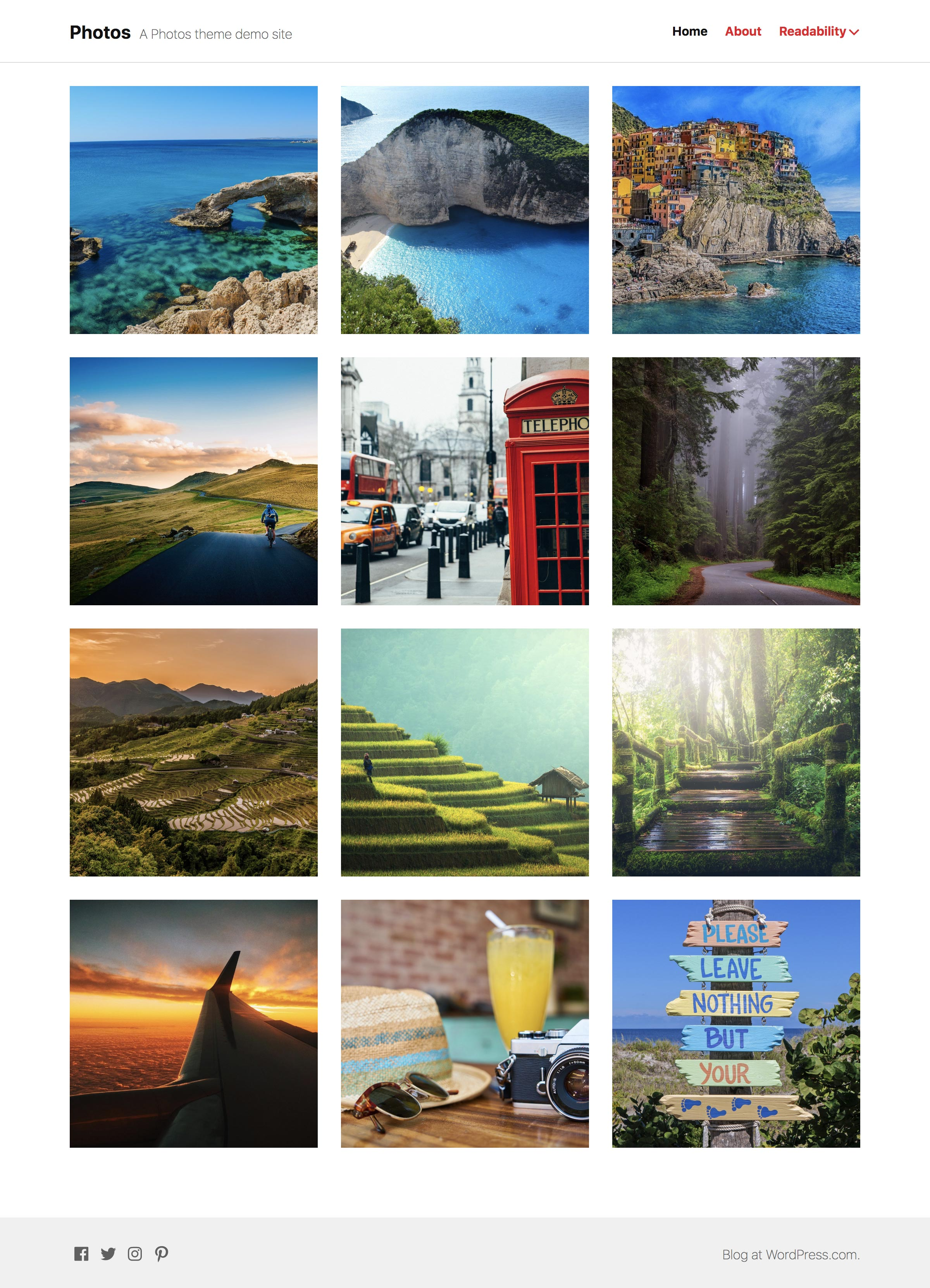 Screenshot of the Photos theme