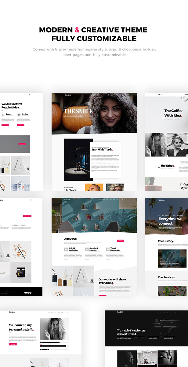 Bagja - Responsive Multi Concept & One Page Portfolio Theme - 1