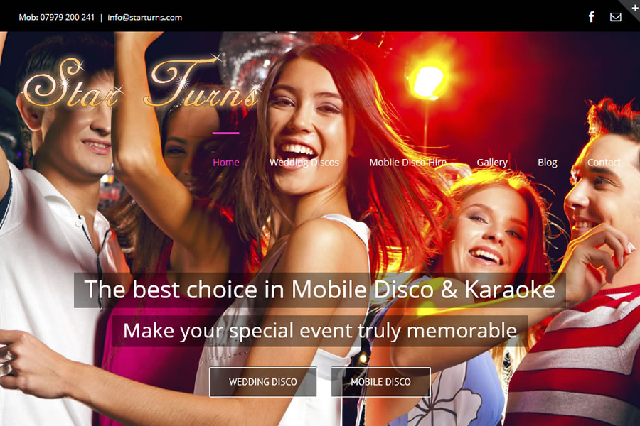 Mobile disco website designers in Somerset