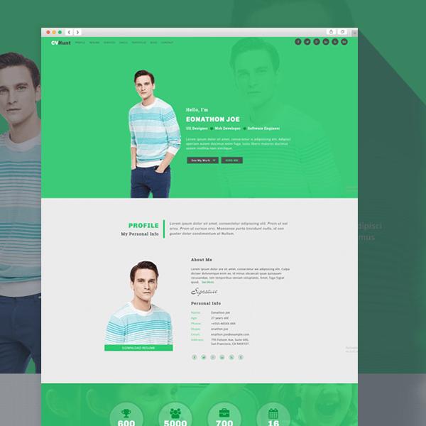 CVHunt- Responsive Resume & Portfolio HTML5 Template | ThemEarth