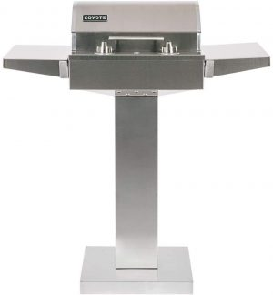 Coyote 18-Inch Built-In Portable Electric Grill On Patio Post