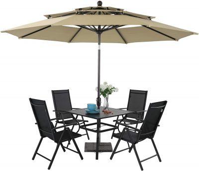 PHI VILLA 5 Pcs Patio Dining Set with Umbrella