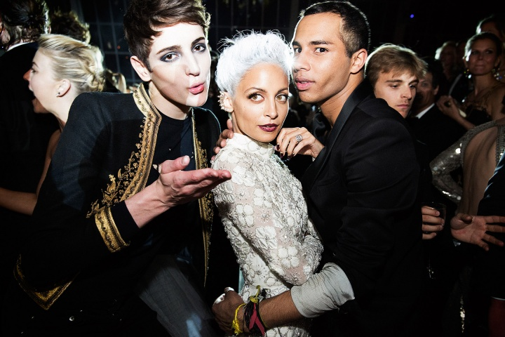 Harry Brant, Nicole Richie and Olivier Rousteing