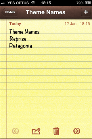 iPhone Theme Name Notes