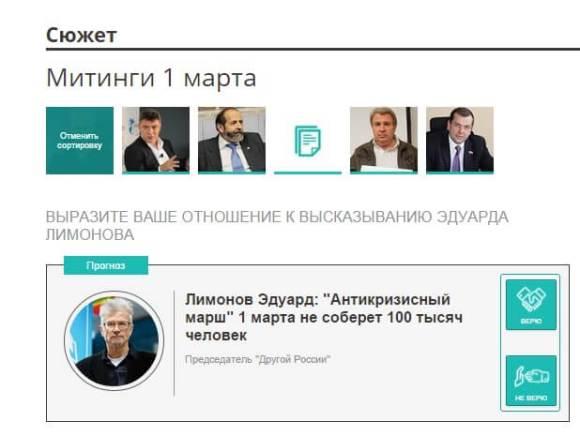 Пользователю предлагается выразить отношение: верит он прогнозу Лимонова или не верит.