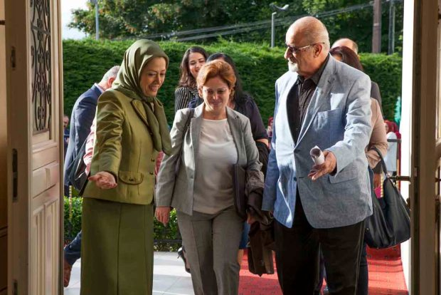 Auver Sur Oise, France 11/06/2016 - The Iranian Resistance's President-elect Maryam Rajavi meet with a number of prominent personalities from Syrian opposition officials at Auver Sur Oise, France. Maryam Rajavi said: Solution to Middle East crisis involves eviction of mullahs from Syria and region and their overthrow in Iran. From Left: The Iranian Resistance's President-elect; Suheir Atassi, member of the High Negotiations Committee of the Syrian Opposition; Haitham al-Maleh, chairman of the Syrian National Council legal committee.
