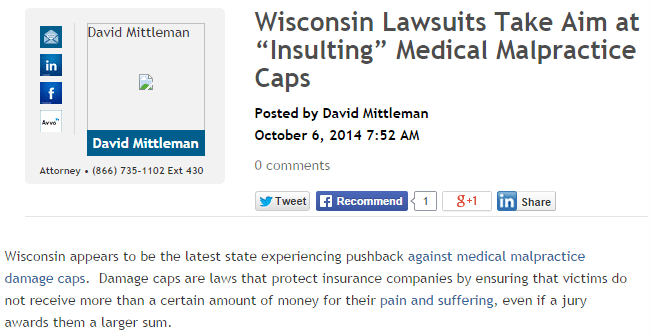 Wisconsin lawsuits take aim at insuling medical malpractice caps