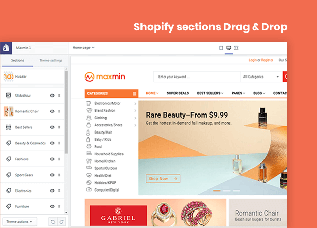 Maxmin sectioned theme - drag drop page builder