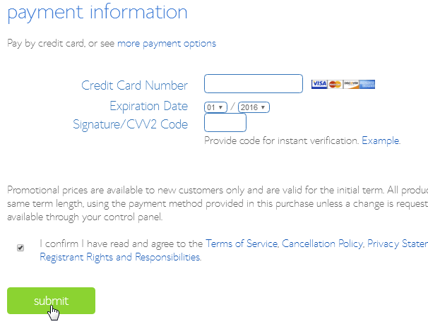 Bluehost Submit Payment