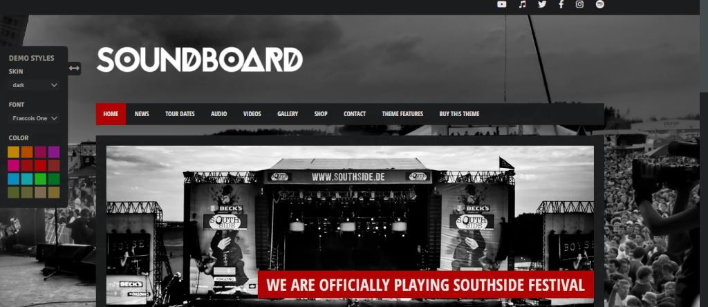Soundboard- best premium musicians WordPress themes, ThemeGem