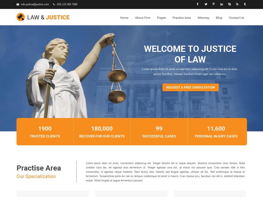 Justice- Best free lawyer WordPress themes