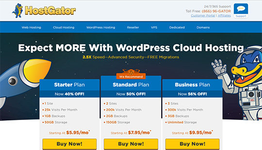 HostGator Hosting - le meilleur hébergement WordPress