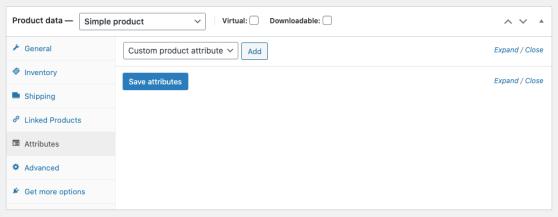 WooCommerce Attributes section setup