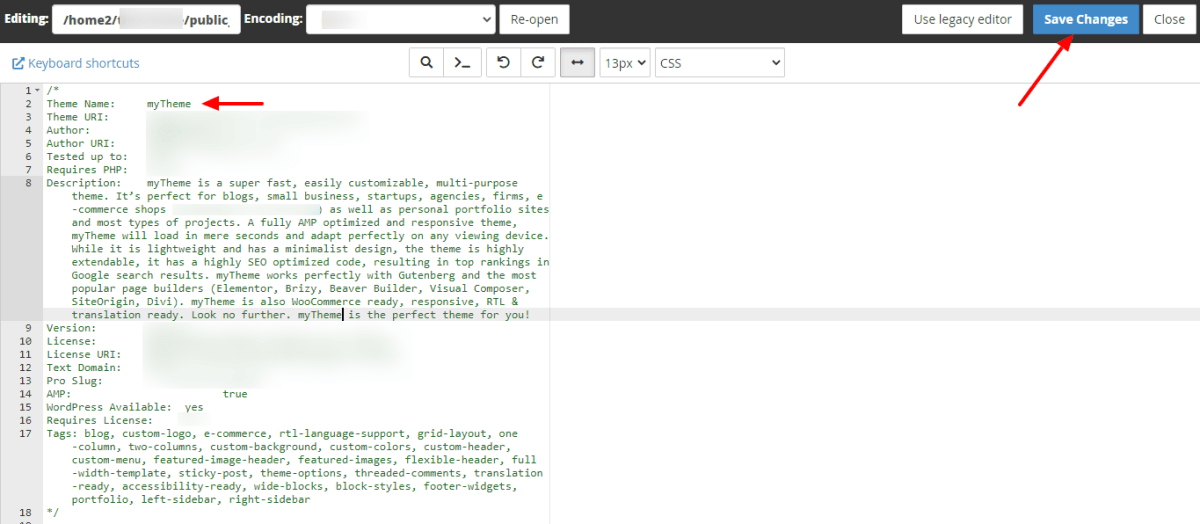 Rename the theme name inside style css file