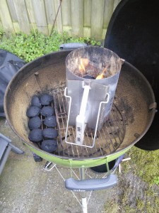 An unlit bed of briquettes. Use a starter chimney - brilliant device.