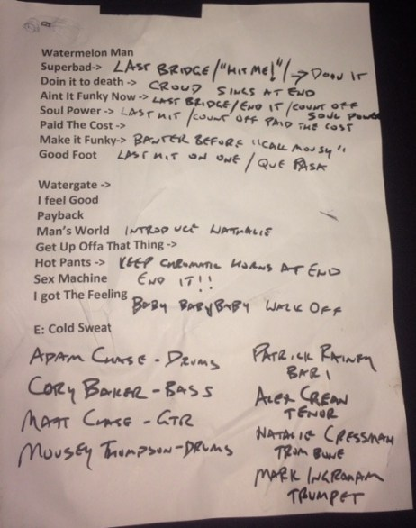 James Brown Dance Party Marked Up Setlist