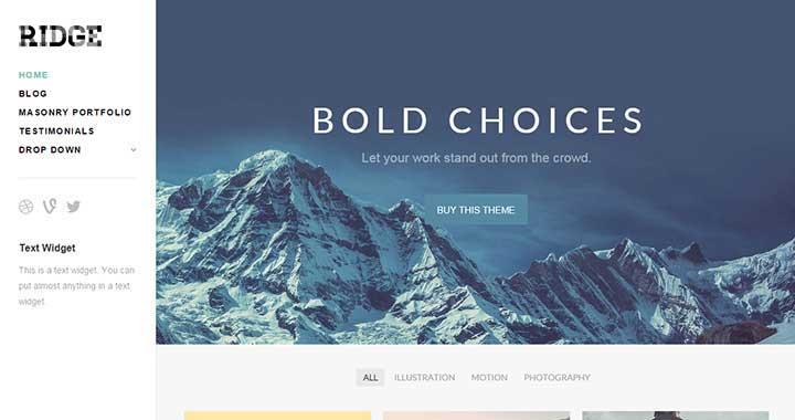 Ridge Free WordPress Portfolio Themes