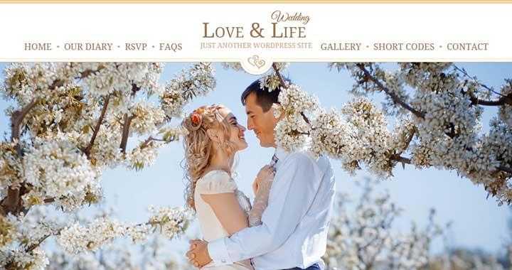 Love & Life Wedding WordPress Theme