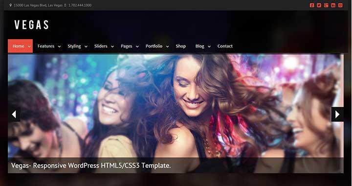 Vegas premium wordpress themes nightclub