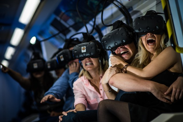 EMBARGOED TO 0001 Friday July 8 EDITORIAL USE ONLY Passengers experience Derren Brown's Ghost Train at Thorpe Park Resort for the first time and are overcome with terror. As the world's first multi-sensory ride, combining virtual reality and live action, guests will have never experienced something so terrifyingly twisted before. The brainchild of Derren Brown, Britain's leading illusionist launches his Ghost Train on Friday 8th July 2016. London. Photo. Issue date: Friday July 8, 2016. Photo credit should read: Daniel Lewis